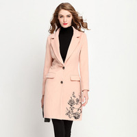 Women's double faced cashmere wool coat solid color single breasted long coat embroidery fashion warm outwear