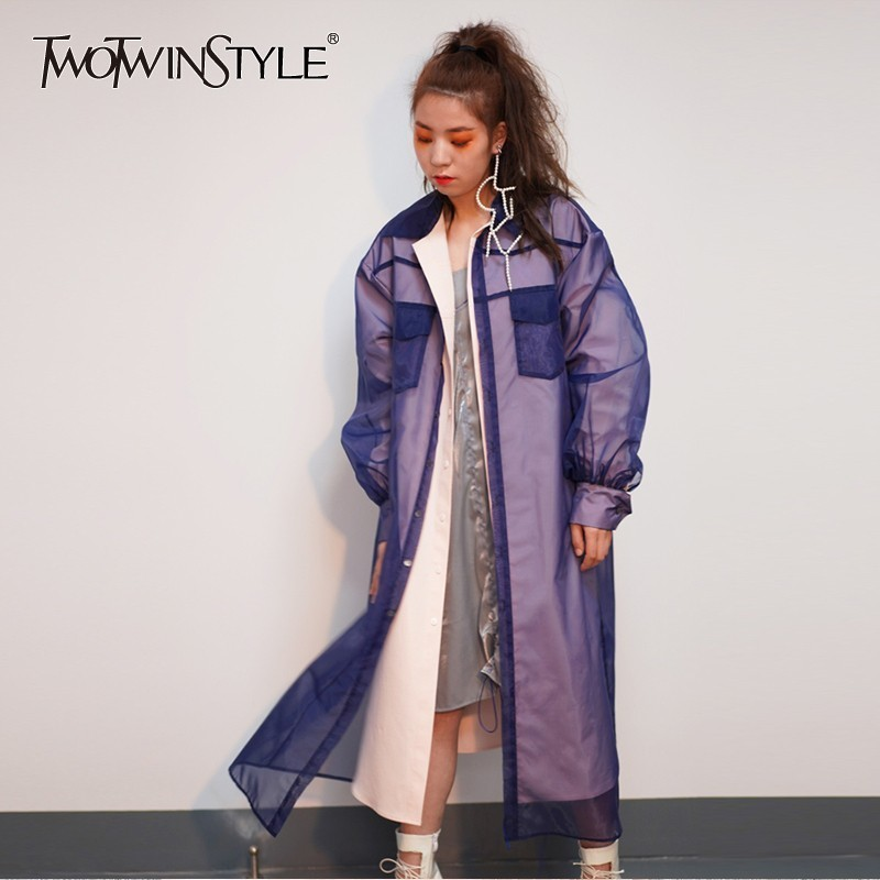 TWOTWINSTYLE Patchwork Mesh Womens Windbreaker Long Sleeve Perspective   Trench   Female Clothes Oversized Fashion 2019 Spring New