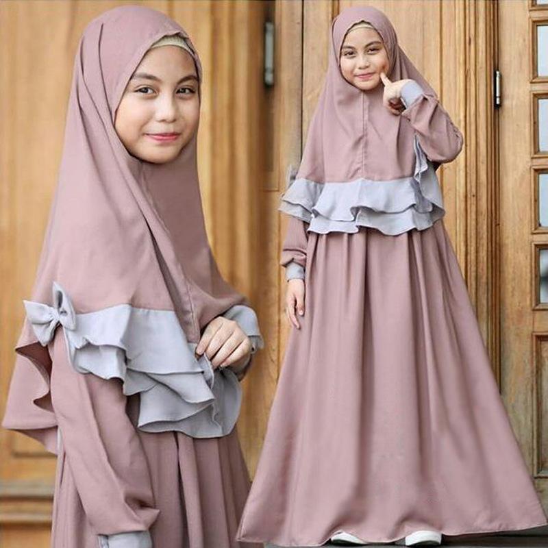 Image 3 - 2019 Children Abaya Kids Islamic Dresses Muslim Girl Dress Kaftan  Moroccan Hijab Robe Dubai Bangladesh Vestido Uae Abayas SetsIslamic  Clothing