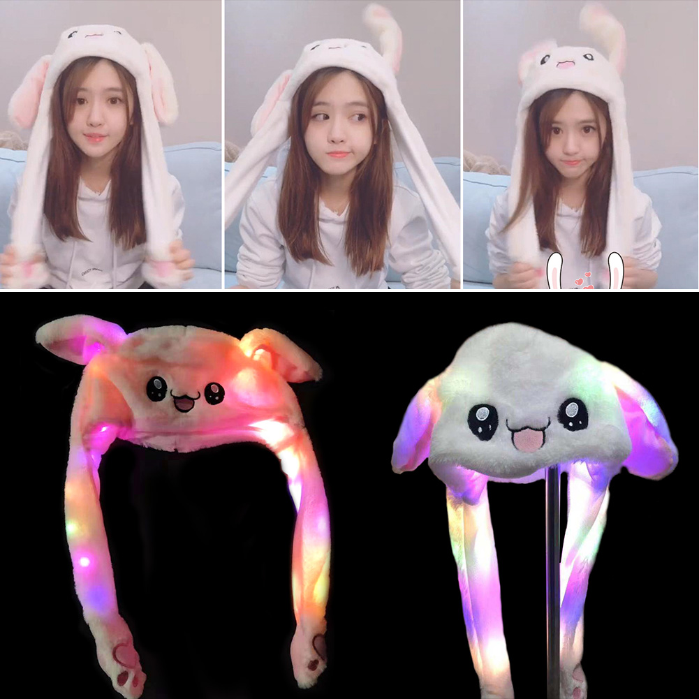 Funny Hat Women Men Kids Lighting Hat Cute Rabbit Ears Plush Ears Can Move Cap Children Shine Winter Warm Party Hat ~