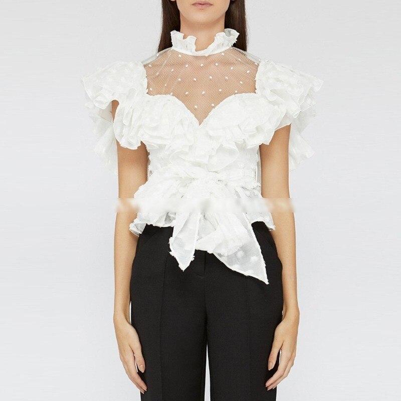 Las De Vendaje Mujeres Blusa L529 Blusas 2018 Volantes Moda Dot Encaje White Patchwork Tops Polka Verano Chiffon Mujer Cuello R7w7Yq