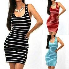 Brand Vestidos Women Sleeveless Striped Sexy Party Brief Mini Dress Fashion Ladies Clothing Bandage Bodycon