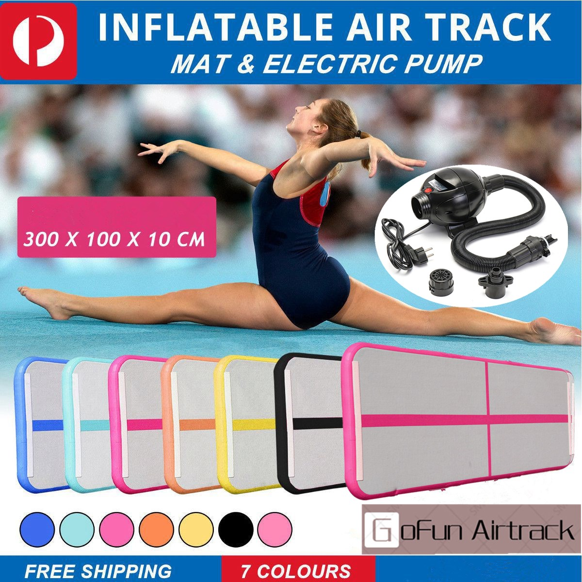 Inflatable Gymnastics AirTrack Tumbling Air Track Floor Trampoline Electric Air Pump for Home Use/Training/Cheerleading/Beach цена