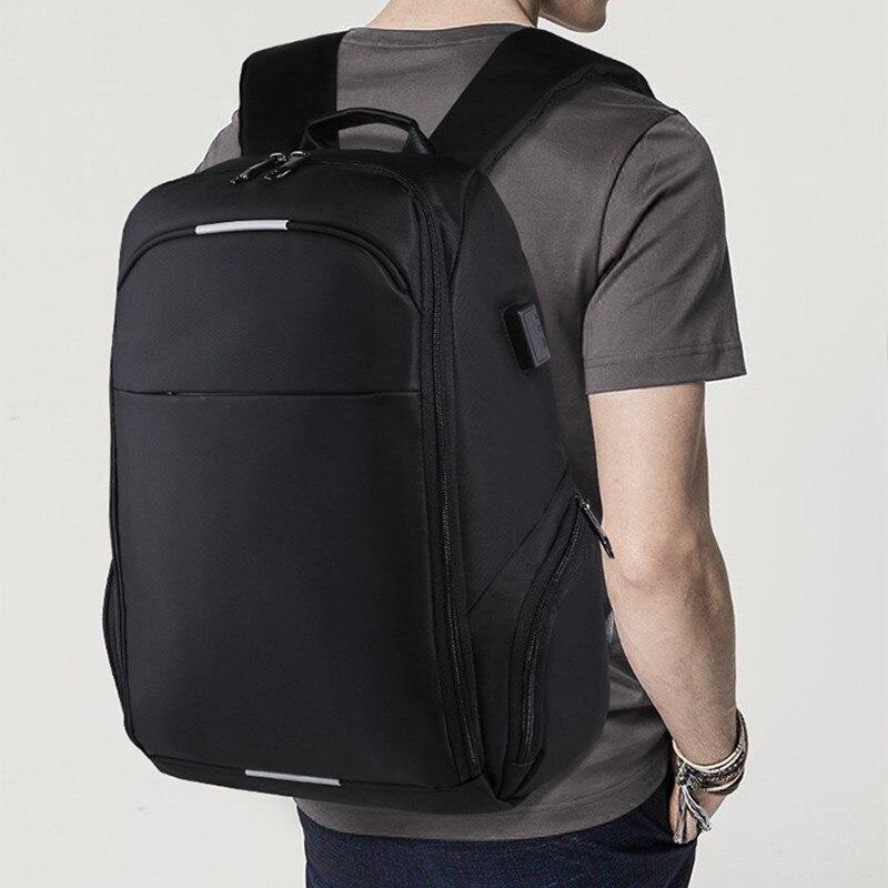 VM Модный деловой мужской 15,6 рюкзак для ноутбука для мужчин, студенток, женщин, школьный рюкзак с двумя плечиками, usb зарядка, рюкзаки для путе... - 6