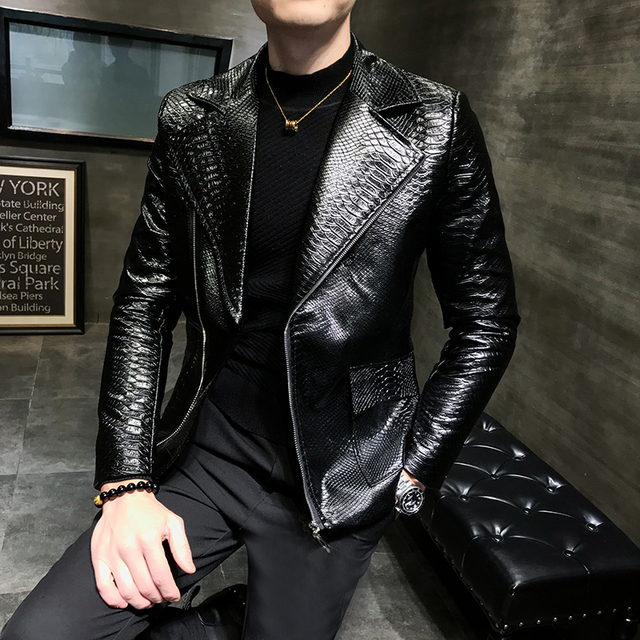 2019 autumn and winter diagonal zipper leather men's social leather suit trend personality handsome jacket tide male