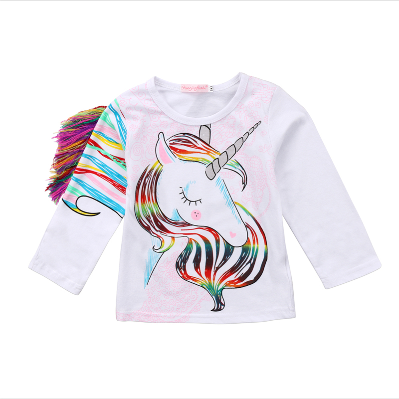 New Fashion Toddler Kids Baby Girls Clothes Cartoon Unicorn Long Sleeve Tops T-shirt Blouse Summer Tee Shirt Casual Clothes 1-6T