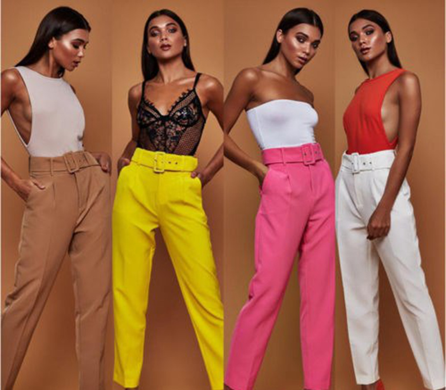 Women Office Lady Loose Ankle Length   Pants   Ladies Casual Solid Color High Waist Drawstring Elastic Trousers Belt Sashes   Capris