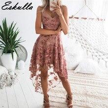 Eskulla irregular stitching Women 2019 V-neck lace dress summer Midi long sexy party beach gauze womens Night Vestidos