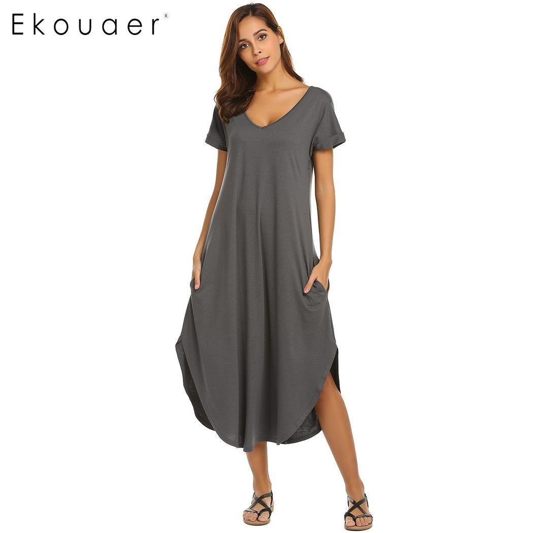 Ekouaer Sleepshirts Nightgown Women A-Line Night Dress Loose Asymmetrical Hem Nightwear Dress Short Sleeve Sleepwear Nightdress