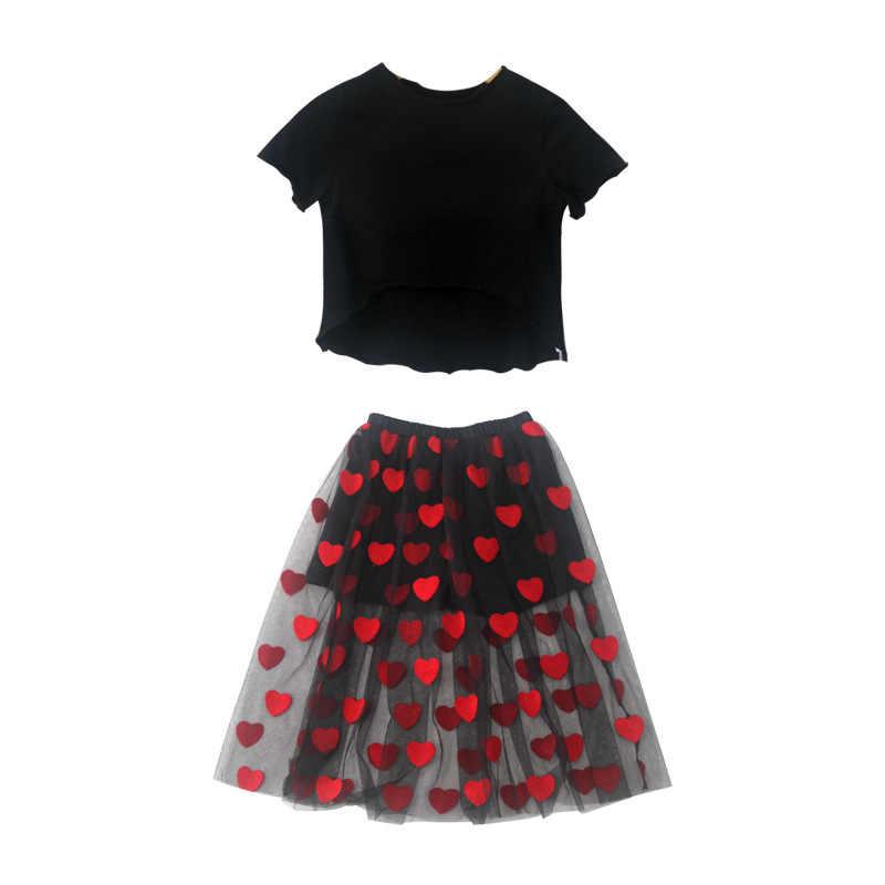 Комплект одежды для маленьких девочек, летняя одежда, хлопковые топы, длинные сетчатые юбки-пачки с сердечками, комплекты одежды для девочек-подростков 4, 6, 8, 10, 12, 14 лет