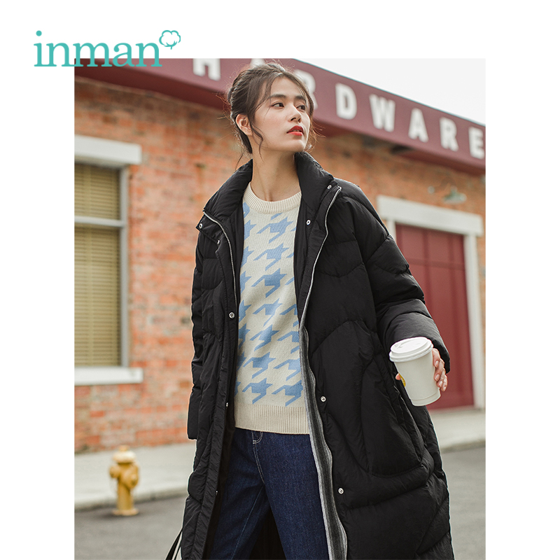 INMAN Winter New Arrival Stand Collar Warm Loose Long Section Retro Woman Down Coat
