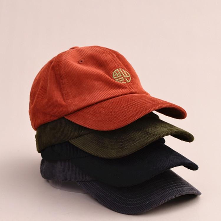 2018 New Autumn Winter Corduroy Baseball Cap Stripe Brand Bones Caps Hip Hop Hat Embroidery Snapback Hats For Men Women Dad Hat