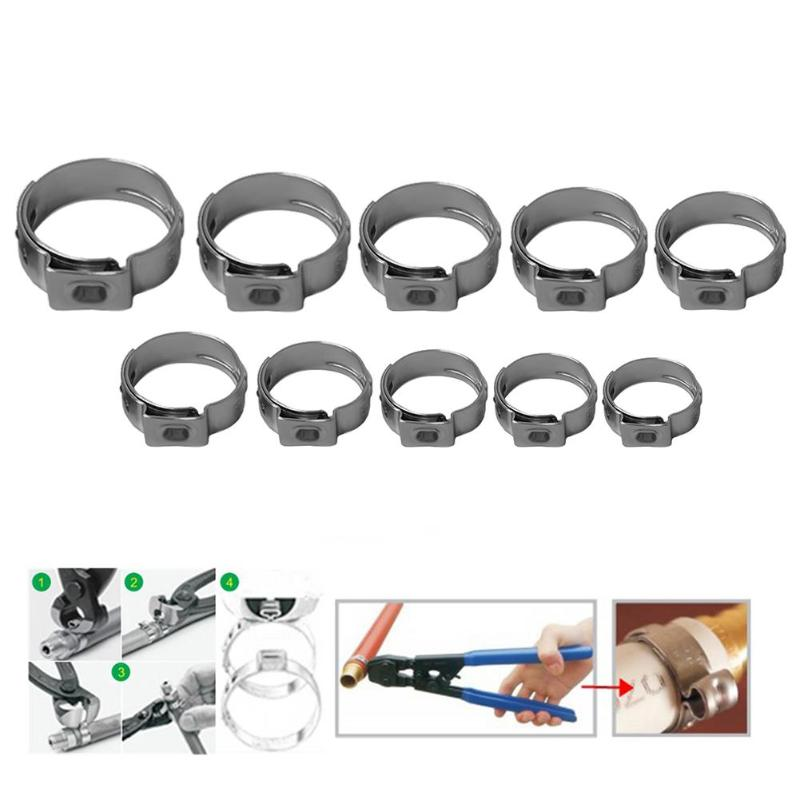 10Pcs Single Ear Stainless Steel Hydraulic Hose Clamps Fuel Air Water Pipe Hose O Clips Train Boat Ship Auto Car Accessories