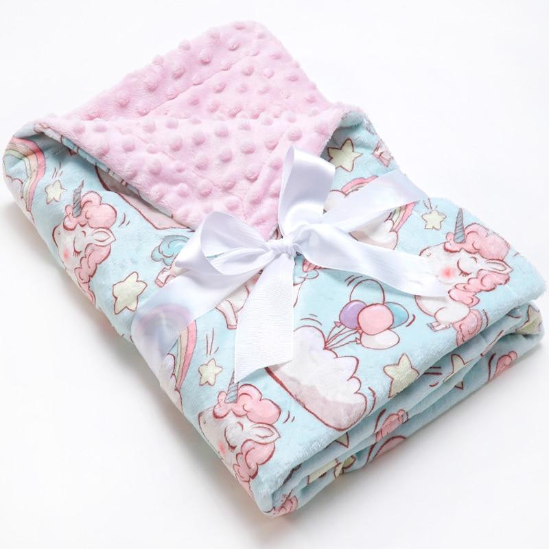 Muslinlife Unicorn Minky Dot Kids Blanket Baby Monthly Milestone Baby Blanket Soft Flannel Receiving Blanket 70*100cm