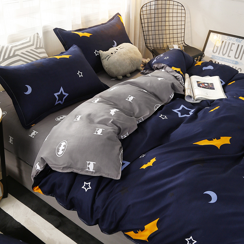 4pcs/set Moon Star Bat printing High Quality Bedding Set Bed Linings Duvet Cover Bed Sheet Pillowcases Cover Set49