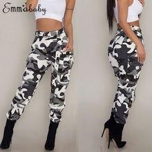 Kadın Camo kargo pantolon rahat pantolon askeri ordu savaş kamuflaj kot moda yüksek bel uzun pantolon sıcak bahar pantolon
