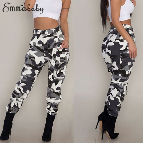 Womens Camo Cargo Trousers Casual Pants Military Army Combat Camouflage Jeans Fashion High Waist Long Pants Warm Spring Trousers
