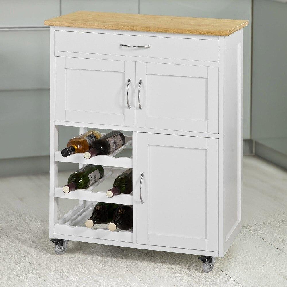 SoBuy FKW45-WN, Kitchen Storage Serving Trolley Cart with Rubber Wood Worktop Storage Cabinet