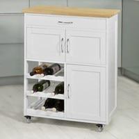 SoBuy FKW45 WN, Kitchen Storage Serving Trolley Cart with Rubber Wood Worktop Storage Cabinet