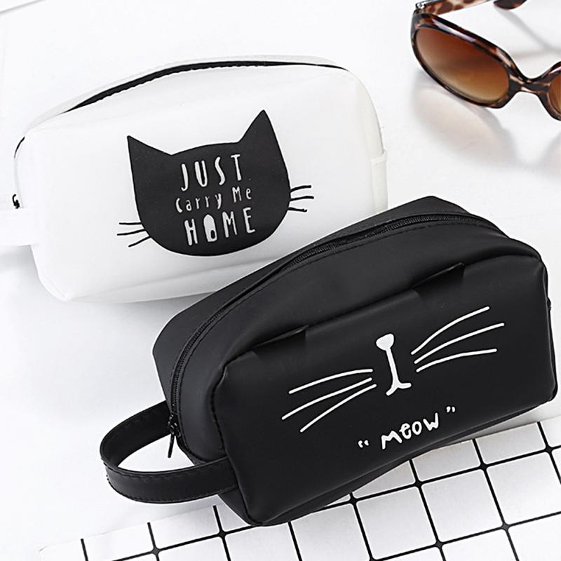 Travel Cosmetic Bag Cartoon Cat Makeup Case Women Zipper Hand Holding Make Up Handbag Storage Pouch
