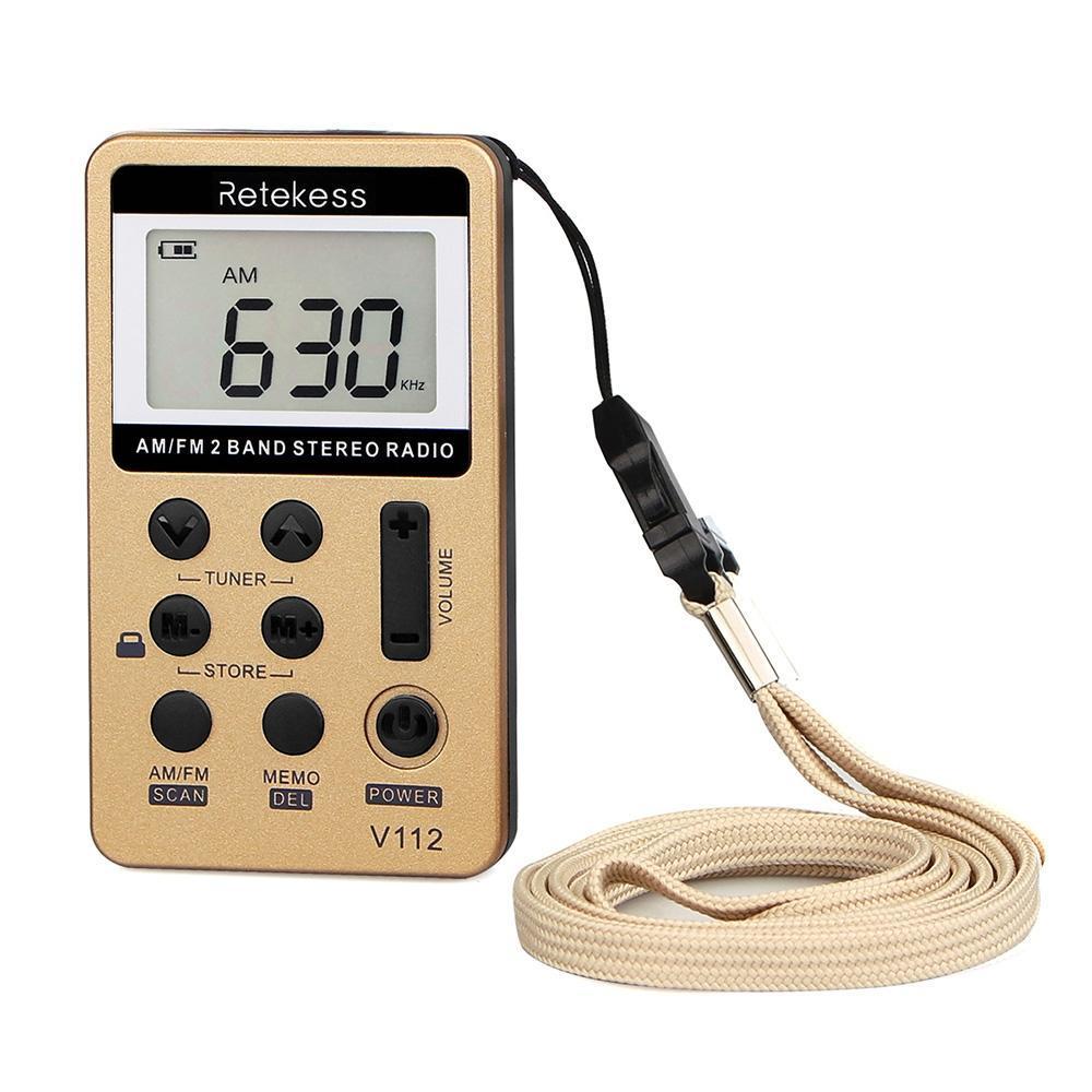 Radio stéréo AM/FM Portable poche Radio Tuning numérique 2 bandes Mini sans 12 heures récepteur env. 43g 1.52 oz