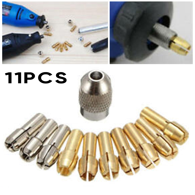 10pcs Collets+1pc Screw Nut Kit Quick Change Tool Part For Power Rotary Accessories Collets Replacements 0.5-3.2mm High Quality