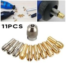 10pcs Collets + 1pc בורג אגוז ערכת שינוי מהיר כלי חלק עבור כוח רוטרי אביזרי Collets תחליפים 0.5 3.2mm באיכות גבוהה