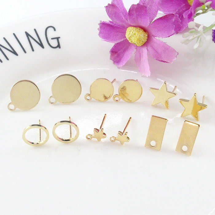 12PCS 24K Gold Color Plated Brass Shaped Stud Earrings for Jewerly Making Diy Jewelry Findings Accessories wholesale