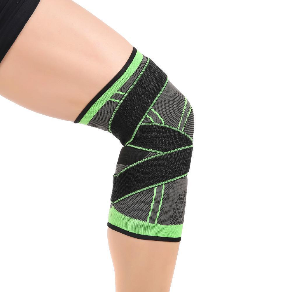 1 PC 3D Pressurized Fitness Running Cycling Knee Support Braces Elastic Nylon Sport Compression Pads Sleeve Green