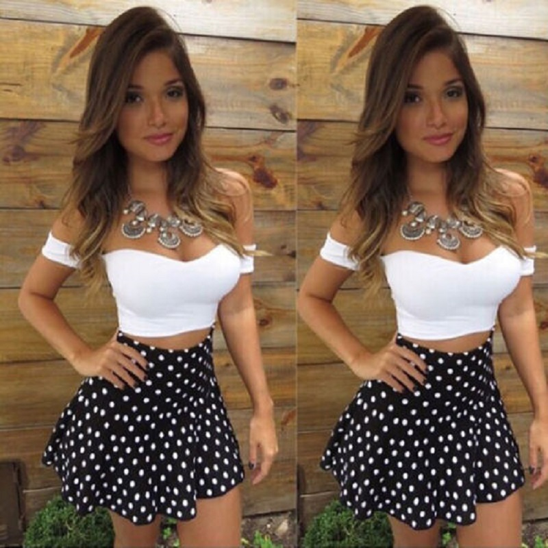 Fashion Hot Women Short Sleeve Bodycon Party Evening Cocktail Short Mini Skirt