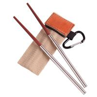 Palillos plegables de madera y acero inoxidable para viajes al aire libre, vajilla retráctil y plegable para pícnic Pro, 1 par