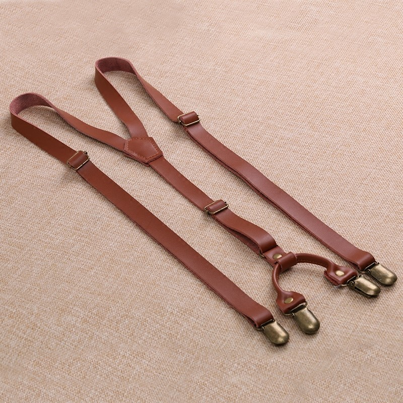 Vintage Mens Suspender Brace Male Strap Clip For Women Cowhide Wild Leisure Casual Belt Skirt Leather Suspenders