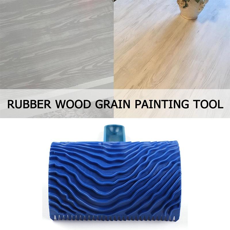1Pcs Home Tools Wall Painting Rollers Wood Grain Paint Roller Handle Wood Grain Pattern Blue Rubber DIY Graining Painting Tool