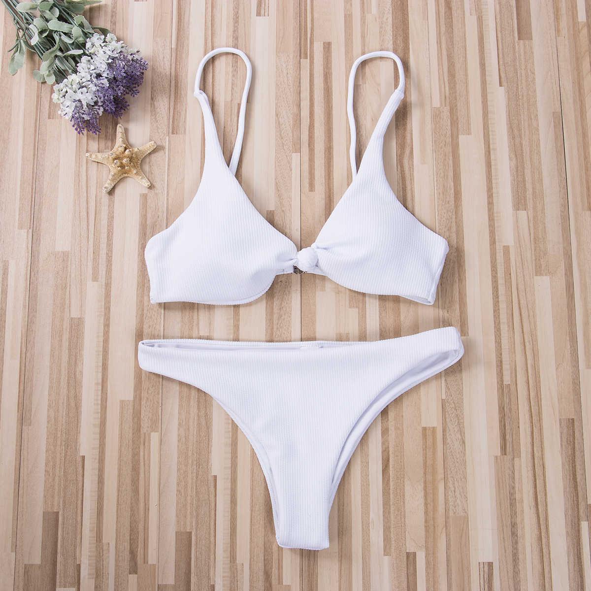 إمرأة مبطن دفع ما يصل الصدرية بلون مجموعة البكيني عقدة الجبهة ملابس السباحة الاستحمام الصيف Beachsuit