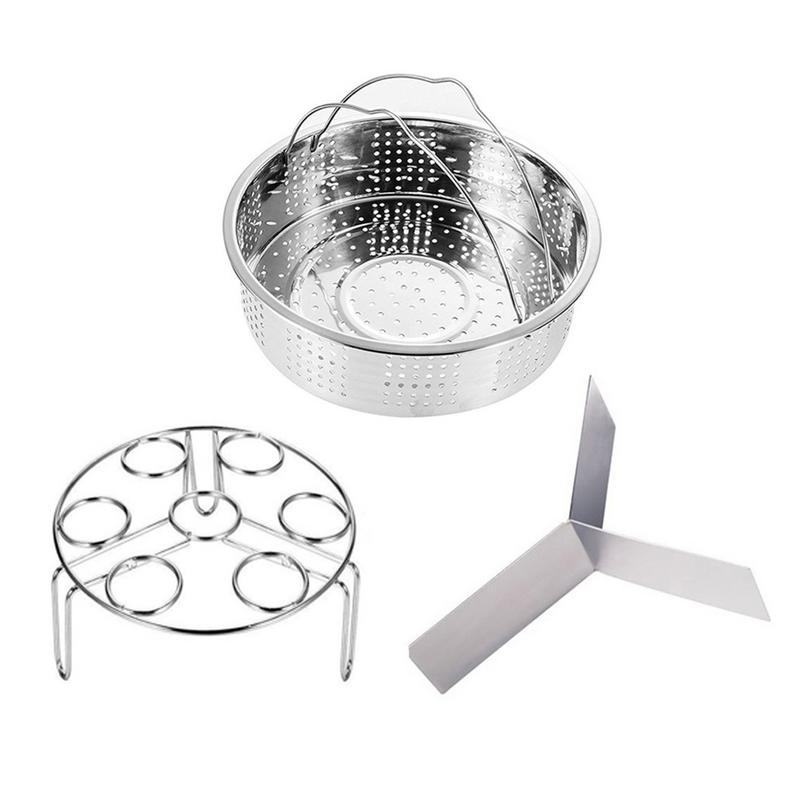 3 Pcs / Set Steaming Basket 304 Stainless Steel Steamer Set With Egg Steamer Rack Fish Rice Vegetable Snack Steamed Cooking Tool