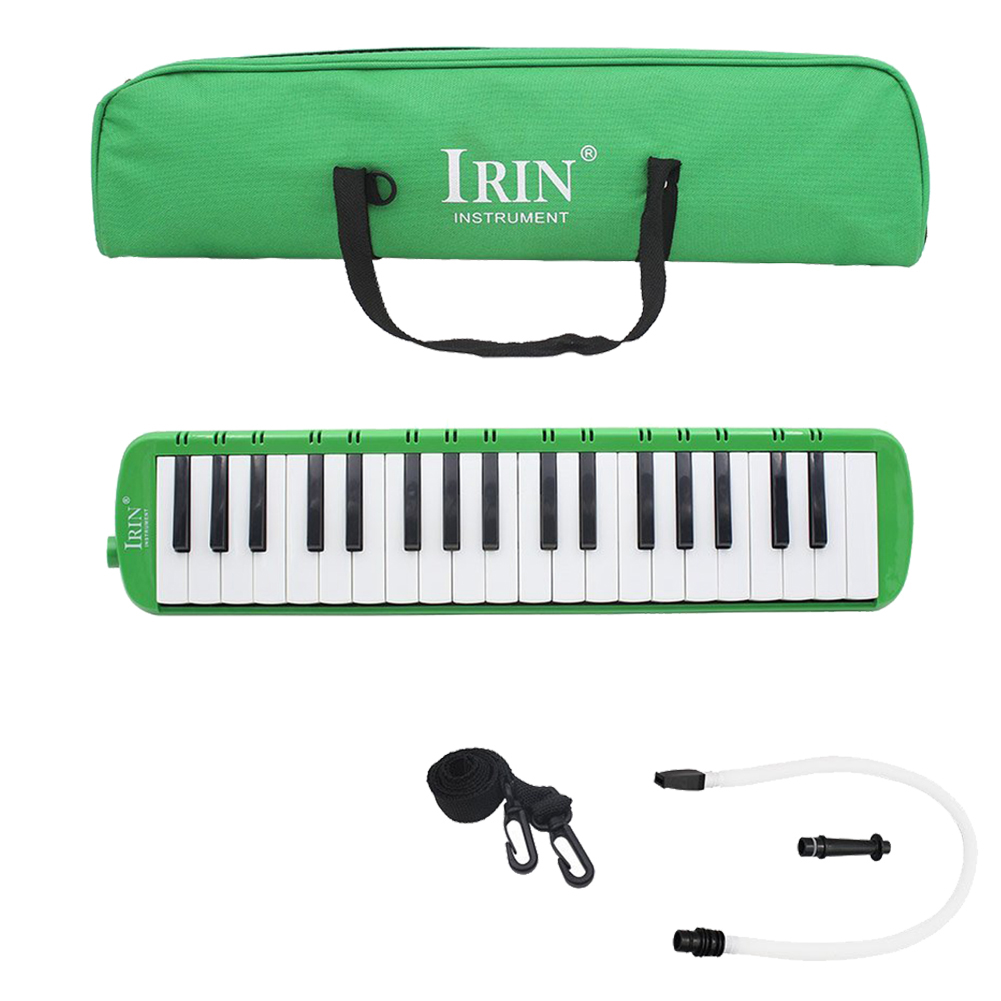 IRIN 37 Keys Melodica Melodic Musical Instrument With Carrying Bag For Students Beginners Kids Green