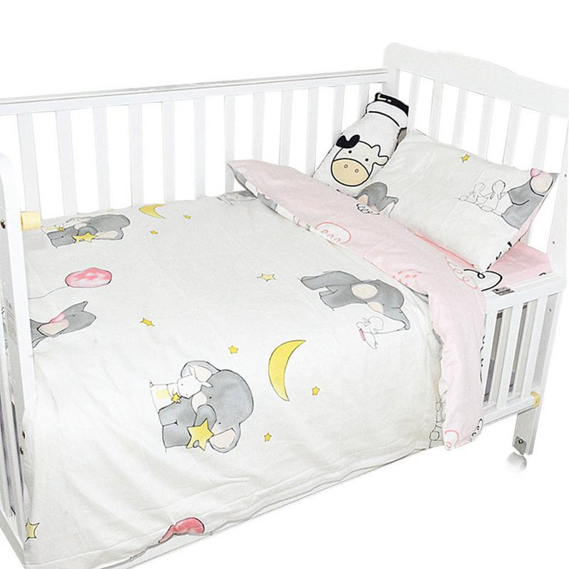 3 Pieces Baby Bedding Set Cotton Crib Bed Linen Kit Cute Pattern Includes Pillowcase Bed Sheet Duvet Cover Without Filler
