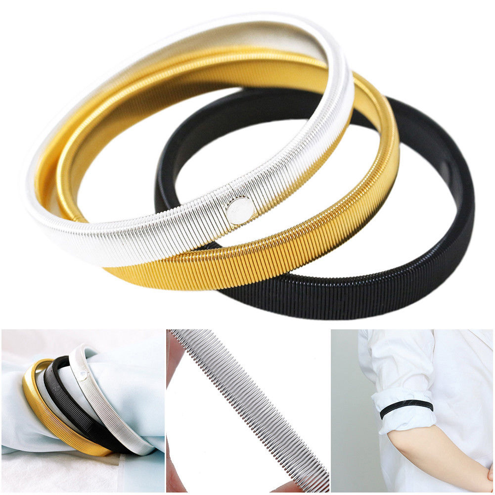 YJSFG HOUSE Unisex Stretchy Elastic Metal Sleeve Garters Mens Elasticated Arm Band Shirt Sleeve Holder