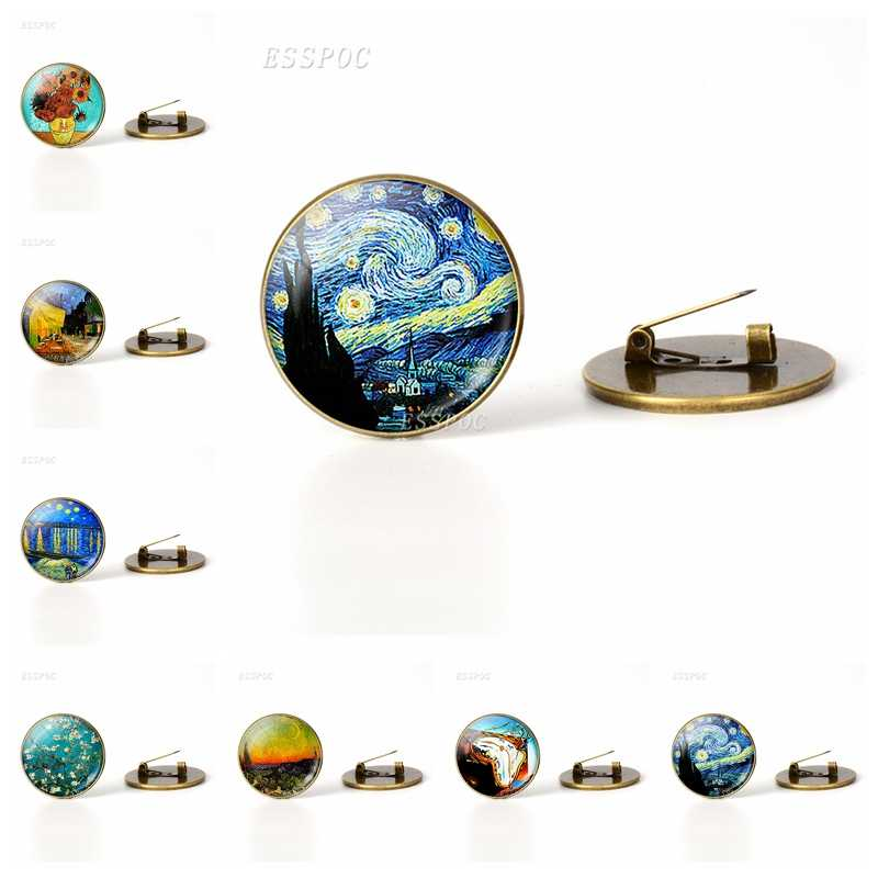 Van Gogh Famous Painting Brooch Sunflower Starry Night Picture Glass Cabochon Brooches Pins Vintage Bronze Copper Brooch Badge