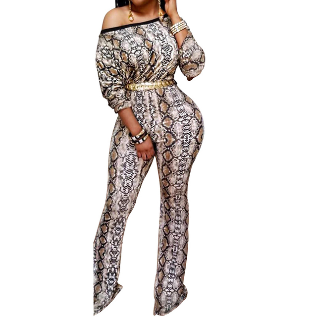Snakeskin Print Wide Leg Jumpsuits Woman Long Sleeve One Shoulder One Piece Pants  Rompers Autumn Winter Ladies Party Jumpsuits da2d35272439