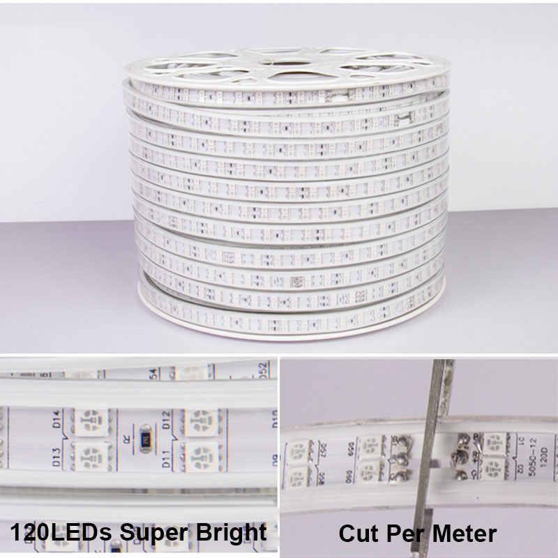 1-12 м двухрядная RGB Светодиодная лента 120 светодиодов/м 5050 220 В меняющая цвет световая лента IP67 водонепроницаемая светодиодная лента + ИК-управление Bluetooth