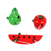 Educational Toys Fun Wooden Worm Eat Fruit Apple pear Early Learning Teaching Aid Baby Gift For Kids alfabeto alfabet Montessori kids 8 note wooden musical toys teaching aid child early educational wisdom development music instrument baby toys gift