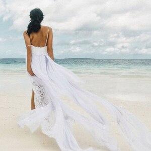 Image 5 - Пляжное свадебное платье, Прозрачное Платье De Mariee, сексуальное шифоновое платье с разрезом, свадебное платье в стиле бохо на тонких бретелях, 2019