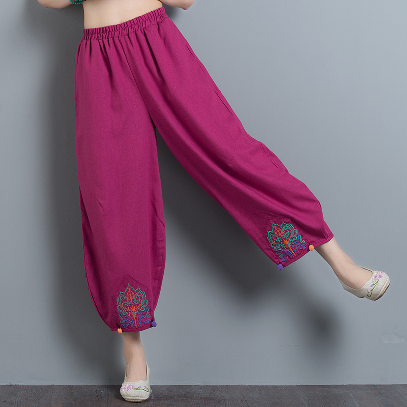Ethnic Style Women Casual Ankle-Length Cotton Linen Loose   Wide     Leg     Pants   Spring Summer Vintage Floral Embroidery   Pants