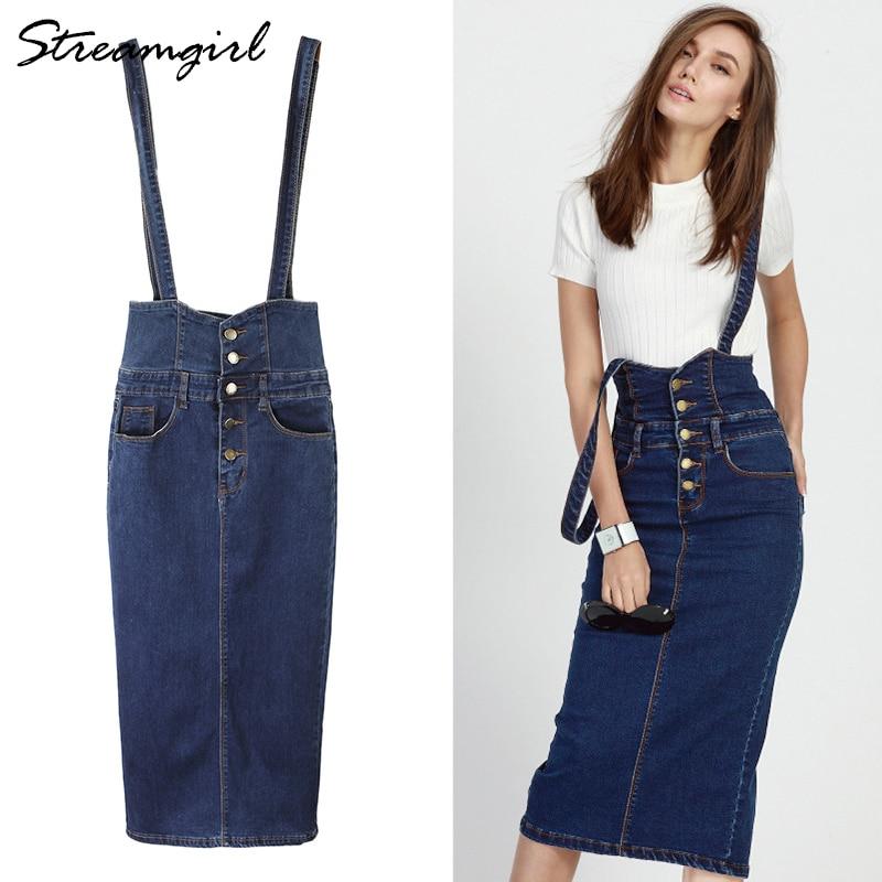 Streamgirl Long Denim Skirt With Straps Women Button Jeans Skirts Plus Size Long High Waist Pencil Skirt Denim Skirts Womens polka dot