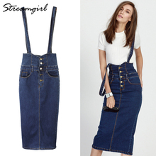 Streamgirl Long Denim Skirt With Straps Women Button Jeans Skirts Plus Size Long High Waist Pencil Skirt Denim Skirts Womens fashionable plus size button fly raw edge denim pinafore skirt for women