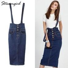 Streamgirl długi dżinsowy spódnica z paskami damski guzik dżinsy spódnice Plus rozmiar długie wysokie talia spódnica ołówkowa spódniczki dżinsowe damskie