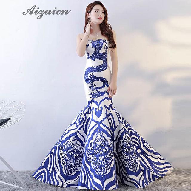Elegant Chinese Style Evening Dress Dragon Women Twill Satin Cheongsam  Wedding Sleeveless Qipao Traditional Fashion Show Dresses 00f2d07c2b1c
