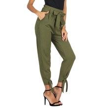 7e88f1626dd87 Sweat pantalon femmes hip hop pantalon décontracté femmes dames couleur  pure taille haute ceinture décoré crayon