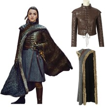 Game Of Thrones 8 Arya Stark Costume Cosplay Adult Halloween Christmas Carnival Dress Winter Only Cloak Shirt Holster Gloves